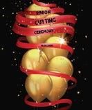 与金气球、五彩纸屑和长的红色丝带的盛大开幕式卡片 库存照片