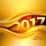 与金波浪的新年快乐背景 图库摄影