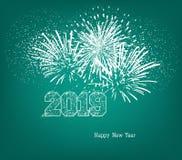 与金球和烟花的新年快乐2019年 免版税库存图片