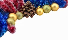 与金球和爆沸的圣诞节边界 库存照片