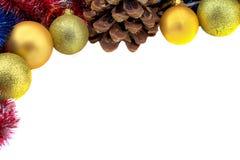 与金球和爆沸的圣诞节边界 免版税库存照片