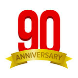 与金磁带和文本`下面周年`的大红色第90 免版税库存图片