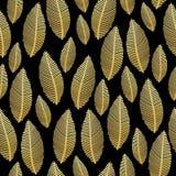与金箔纹理的无缝的叶子样式在黑色 库存图片