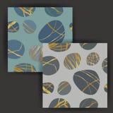 与金箔邮票作用的传染媒介圆的石无缝的样式 免版税库存图片