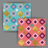 与金箔邮票作用的传染媒介手拉的方形的无缝的样式 库存图片