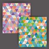 与金箔邮票作用的传染媒介日本式三角无缝的样式 库存照片