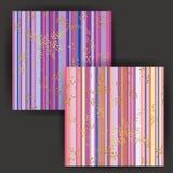 与金箔邮票作用的传染媒介日本式条纹无缝的样式 免版税库存照片