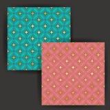 与金箔邮票作用的传染媒介星瓦片无缝的样式 库存照片