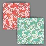 与金箔邮票作用的传染媒介蝴蝶&花无缝的样式 免版税图库摄影