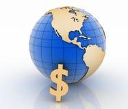 与金美元标志的地球在白色 库存图片
