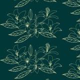 与金花的无缝的样式在绿色背景 lilia 皇族释放例证