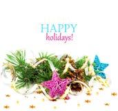 与金蛇纹石和星的圣诞树分支 免版税库存图片