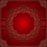 与金装饰品的典雅的红色背景 向量例证