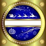 与金边界的圣诞节蓝色设计 库存照片