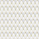 与金金属细节的无缝的白革纹理 传染媒介皮革背景 库存例证