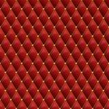 与金金属细节的无缝的红色皮革纹理 传染媒介地方教育局 向量例证