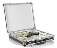 与金钱和枪的案件 库存照片