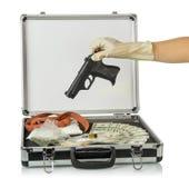与金钱和药物的案件 库存照片