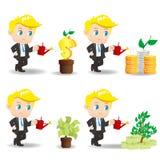 与金钱树的动画片商人 免版税库存图片
