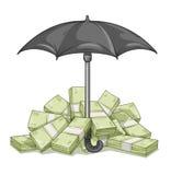 与金钱的伞保护的捆绑 免版税库存照片