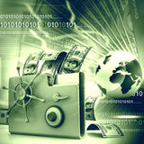 与金钱的计算机文件夹 免版税图库摄影