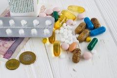 与金钱的许多色的医学药片在白色背景 免版税库存图片