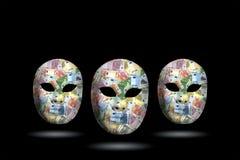 与金钱的面具 库存照片