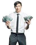 与金钱的年轻商人 免版税图库摄影