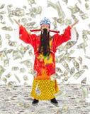 与金钱的财富份额财宝的上帝和繁荣下雨 免版税库存图片