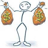 与金钱袋子的棍子形象与美元 免版税图库摄影