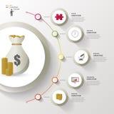 与金钱袋子的Infographic模板 概念传染媒介例证 免版税库存照片