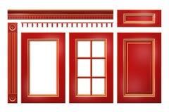 与金门,抽屉,专栏,在白色隔绝的厨柜的檐口的红色 库存照片