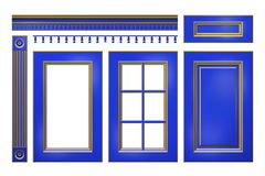 与金门,抽屉,专栏,在白色隔绝的厨柜的檐口的蓝色 免版税图库摄影