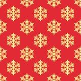 与金雪花的圣诞节无缝的样式 免版税库存照片