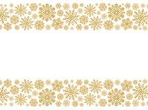 与金雪花的圣诞节边界 衣服饰物之小金属片五彩纸屑边界  免版税库存照片