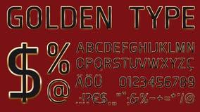 与金黄光滑的概述的向量字体 免版税库存图片