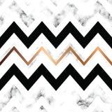 与金黄几何线的传染媒介大理石纹理设计,黑白使有大理石花纹的表面,现代豪华背景 向量例证