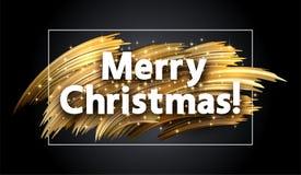 与金黄刷子冲程的圣诞快乐发光的贺卡 库存例证