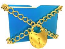与金黄取决于的锁定的蓝色文件夹 免版税库存照片