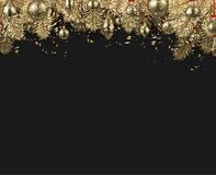 与金黄圣诞节球的新年背景 皇族释放例证