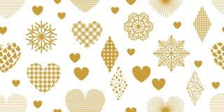 与金黄心脏、装饰品和装饰的简单派样式欢乐背景 皇族释放例证
