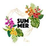 与金黄框架的夏天花卉海报 横幅的,飞行物,织品热带卷丹花和棕榈叶设计 库存图片