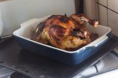 与金黄烤外壳的开胃被烘烤的鸡在烹调了 免版税库存图片