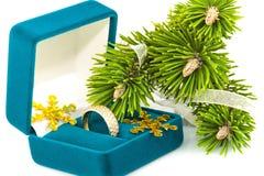 与金黄环形和枝杈圣诞树的配件箱 免版税库存图片