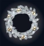 与金黄球的圣诞节花圈 库存例证