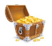 与金黄硬币的葡萄酒木胸口 图库摄影