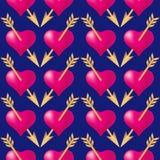 与金黄箭头刺穿的心脏的无缝的样式背景 情人节假日印刷术 库存例证
