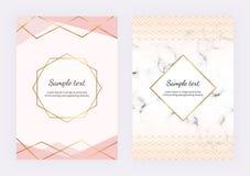与金黄线,三角元素的几何设计 邀请的,婚礼,招贴,生日,小册子现代模板 库存例证