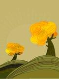 与金黄结构树的秋天横向 免版税库存图片