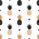 与金黄菠萝的图片的简单的无缝的背景 向量 免版税库存图片